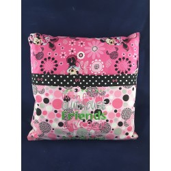 Black and Pink Flower Pillow
